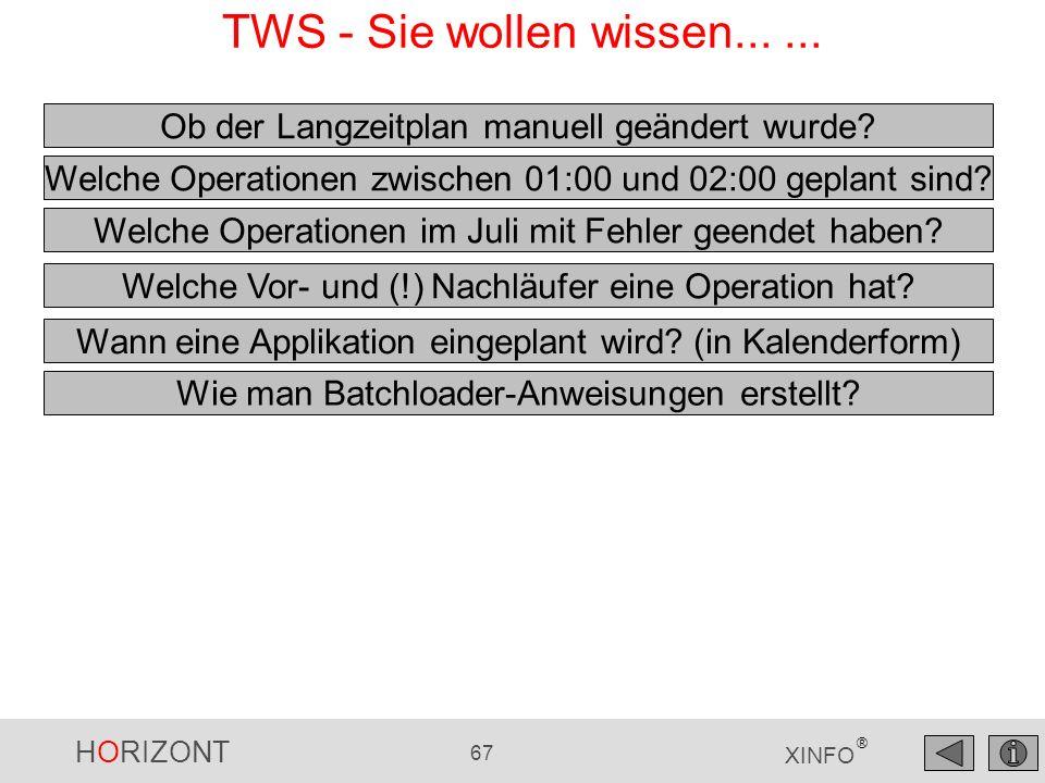 HORIZONT 67 XINFO ® TWS - Sie wollen wissen...... Wann eine Applikation eingeplant wird? (in Kalenderform) Welche Operationen im Juli mit Fehler geend