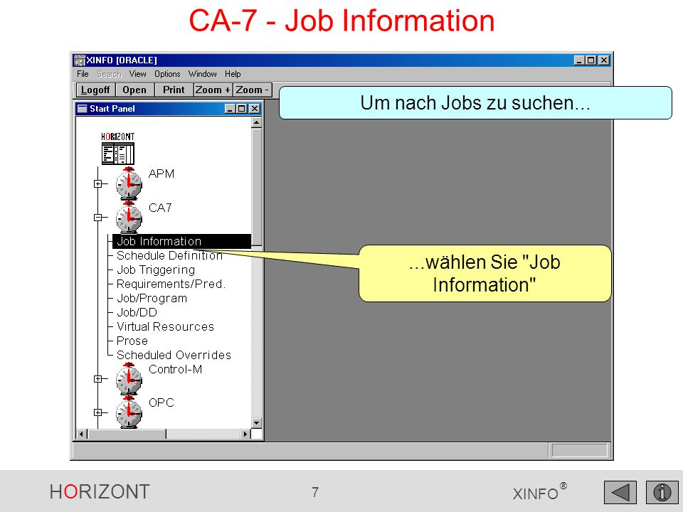 HORIZONT 218 XINFO ® Ende- Zeit Start-Zeit Jobname Cpu- Verbrauch EXCP SMF - Job-Aktivität Ergebnis