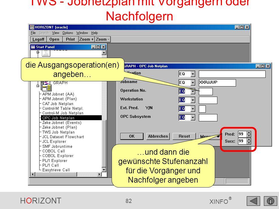 HORIZONT 82 XINFO ® TWS - Jobnetzplan mit Vorgängern oder Nachfolgern die Ausgangsoperation(en) angeben… …und dann die gewünschte Stufenanzahl für die