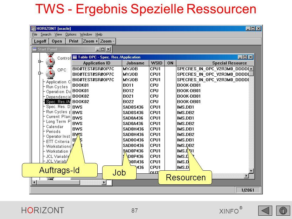 HORIZONT 87 XINFO ® Auftrags-Id Job TWS - Ergebnis Spezielle Ressourcen Resourcen