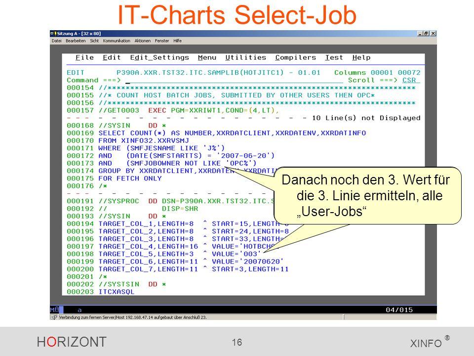 HORIZONT 16 XINFO ® IT-Charts Select-Job Danach noch den 3.