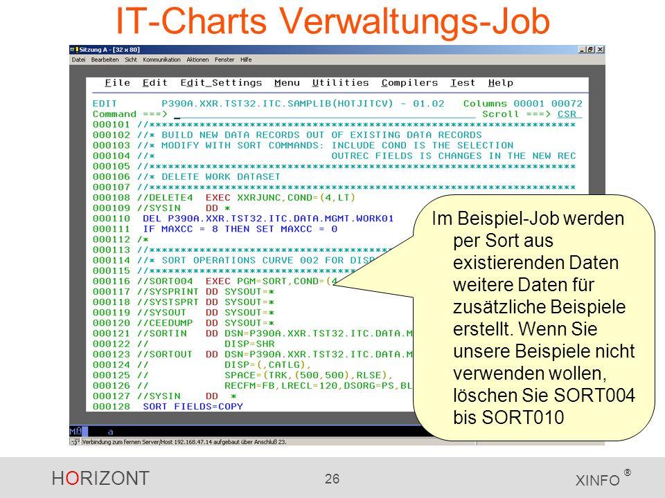 HORIZONT 26 XINFO ® IT-Charts Verwaltungs-Job Im Beispiel-Job werden per Sort aus existierenden Daten weitere Daten für zusätzliche Beispiele erstellt.
