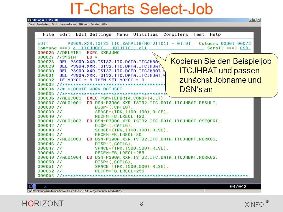 HORIZONT 8 XINFO ® IT-Charts Select-Job Kopieren Sie den Beispieljob ITCJHBAT und passen zunächst Jobname und DSNs an