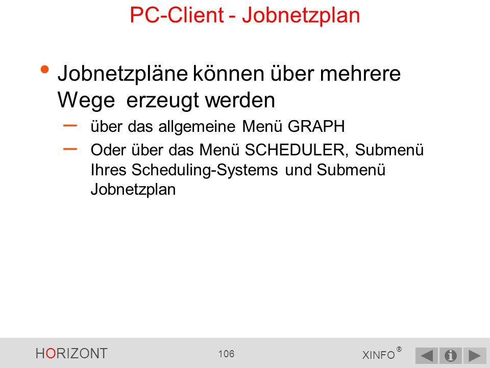 HORIZONT 105 XINFO ® PC-Client - Jobnetzplan Jobs Vorläufer Nachläufer Trigger (CA7) Conditions (Control-M, ZEKE) Dateien (CA7, ZEKE, TWS) Prompts (TWS) Der Jobnetzplan zeigt die Jobs und die Abhängigkeiten zwischen den Jobs grafisch an, welche im Scheduler (TWS, CA7, CONTROL-M, ZEKE, TWS,...) definiert sind: