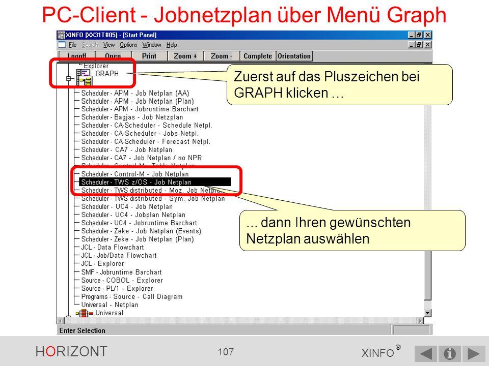 HORIZONT 106 XINFO ® PC-Client - Jobnetzplan Jobnetzpläne können über mehrere Wege erzeugt werden – über das allgemeine Menü GRAPH – Oder über das Menü SCHEDULER, Submenü Ihres Scheduling-Systems und Submenü Jobnetzplan