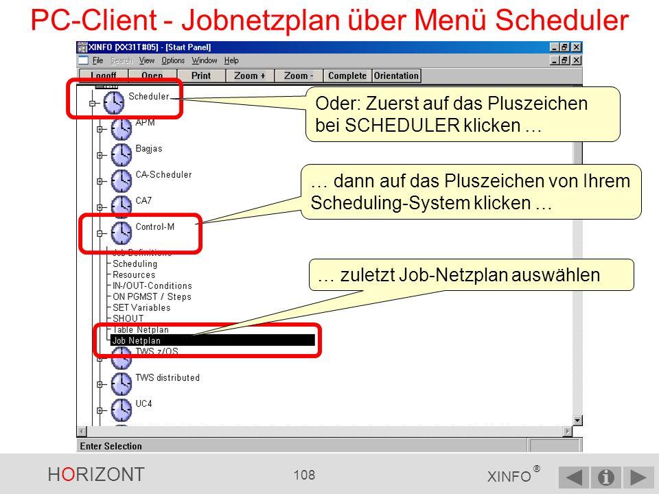 HORIZONT 107 XINFO ® PC-Client - Jobnetzplan über Menü Graph Zuerst auf das Pluszeichen bei GRAPH klicken …...