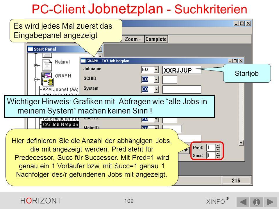 HORIZONT 108 XINFO ® PC-Client - Jobnetzplan über Menü Scheduler Oder: Zuerst auf das Pluszeichen bei SCHEDULER klicken … … dann auf das Pluszeichen von Ihrem Scheduling-System klicken … … zuletzt Job-Netzplan auswählen
