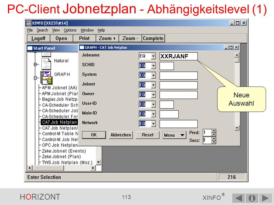 HORIZONT 112 XINFO ® PC-Client Jobnetzplan - Layout der Knoten Kasten mit durchgezogener Linie = Job(s) entspricht Auswahl im Eingabepanel Kasten mit gestrichelter Linie = Job(s) über die Angabe der Pred./Succ.-Levels