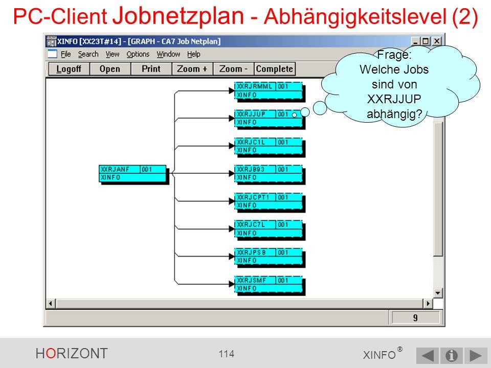 HORIZONT 113 XINFO ® XXRJANF Neue Auswahl PC-Client Jobnetzplan - Abhängigkeitslevel (1)