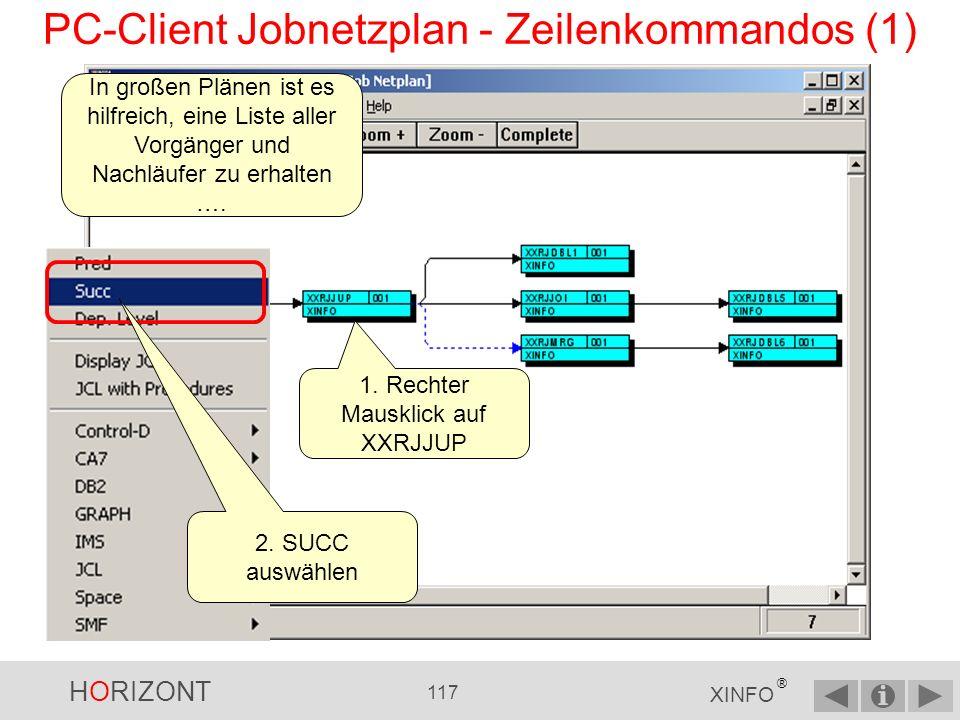 HORIZONT 116 XINFO ® PC-Client Jobnetzplan - Abhängigkeitslevel (4) Diese Jobs sind abhängig von XXRJJUP.