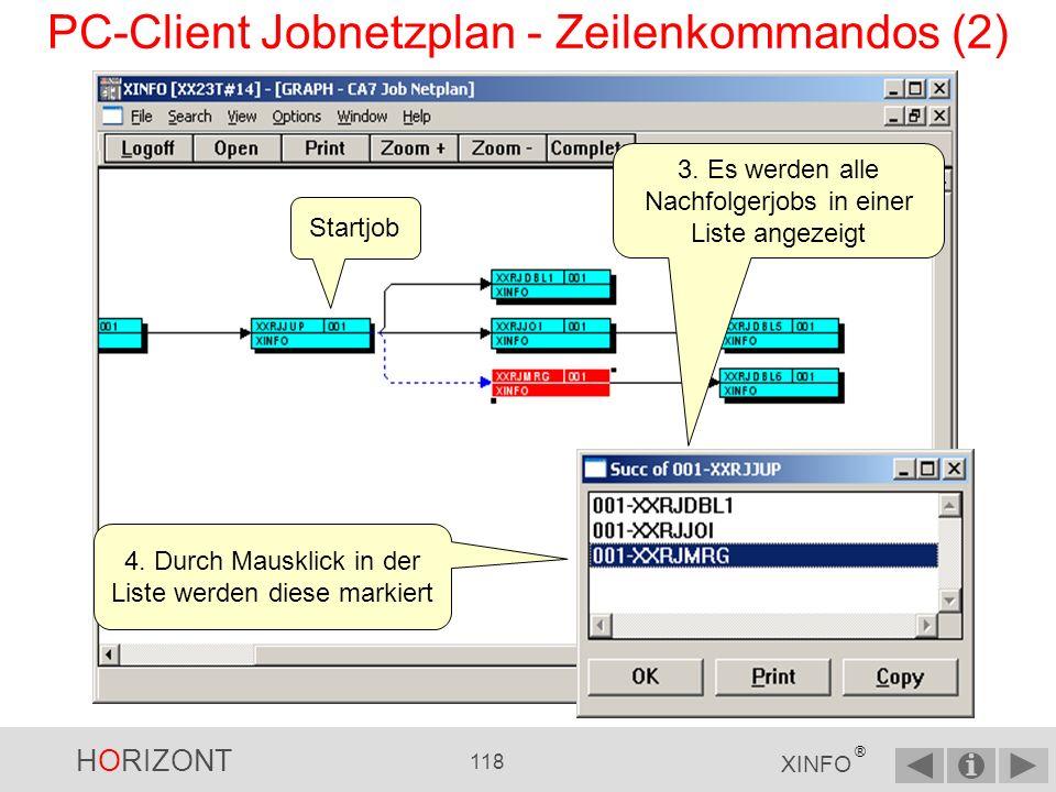 HORIZONT 117 XINFO ® PC-Client Jobnetzplan - Zeilenkommandos (1) In großen Plänen ist es hilfreich, eine Liste aller Vorgänger und Nachläufer zu erhalten ….