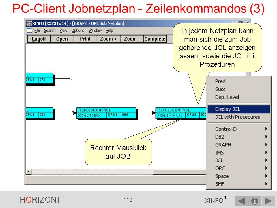 HORIZONT 118 XINFO ® PC-Client Jobnetzplan - Zeilenkommandos (2) 4.