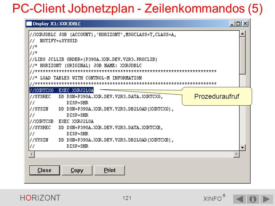 HORIZONT 120 XINFO ® PC-Client Jobnetzplan - Zeilenkommandos (4) JCL wurde vom Mainframe übertragen.