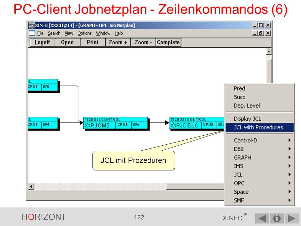 HORIZONT 121 XINFO ® PC-Client Jobnetzplan - Zeilenkommandos (5) Prozeduraufruf