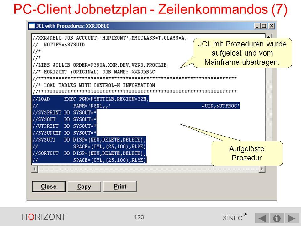 HORIZONT 122 XINFO ® PC-Client Jobnetzplan - Zeilenkommandos (6) JCL mit Prozeduren