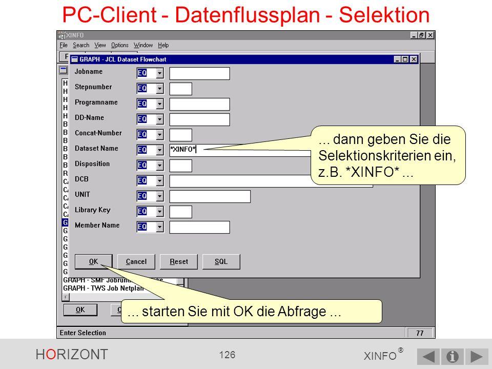 HORIZONT 125 XINFO ® PC-Client - Datenflussplan - Display Auswählen Als erstes müssen Sie im Startpanel die Grafik mit dem Datenflussplan auswählen...