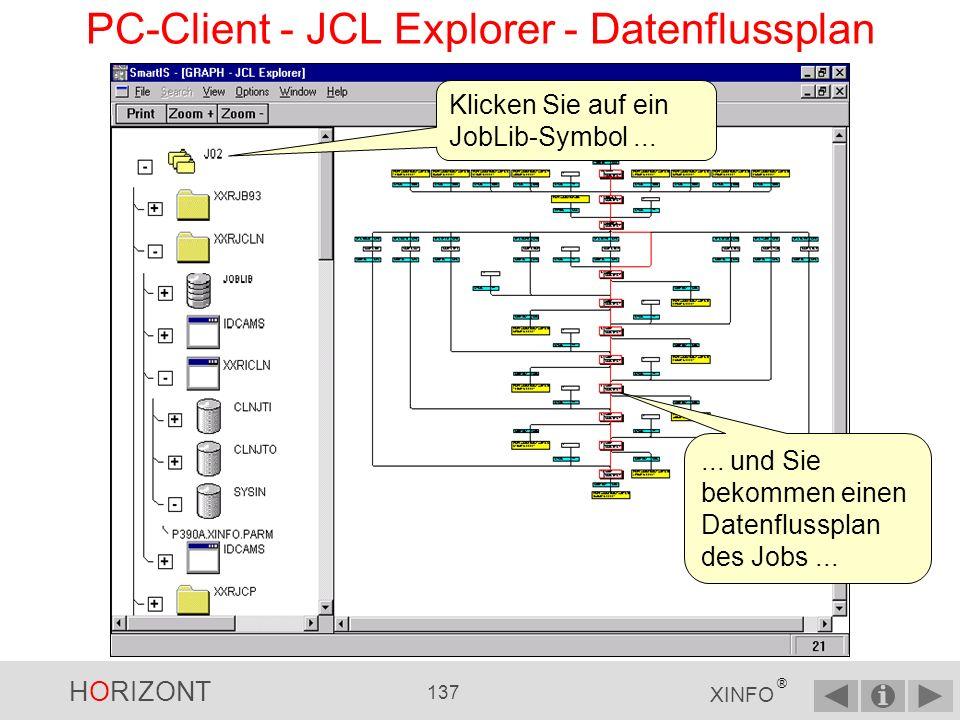 HORIZONT 136 XINFO ® PC-Client - JCL Explorer - Übersicht Job PGM DD DSN Klicken Sie auf ein Job-Symbol...