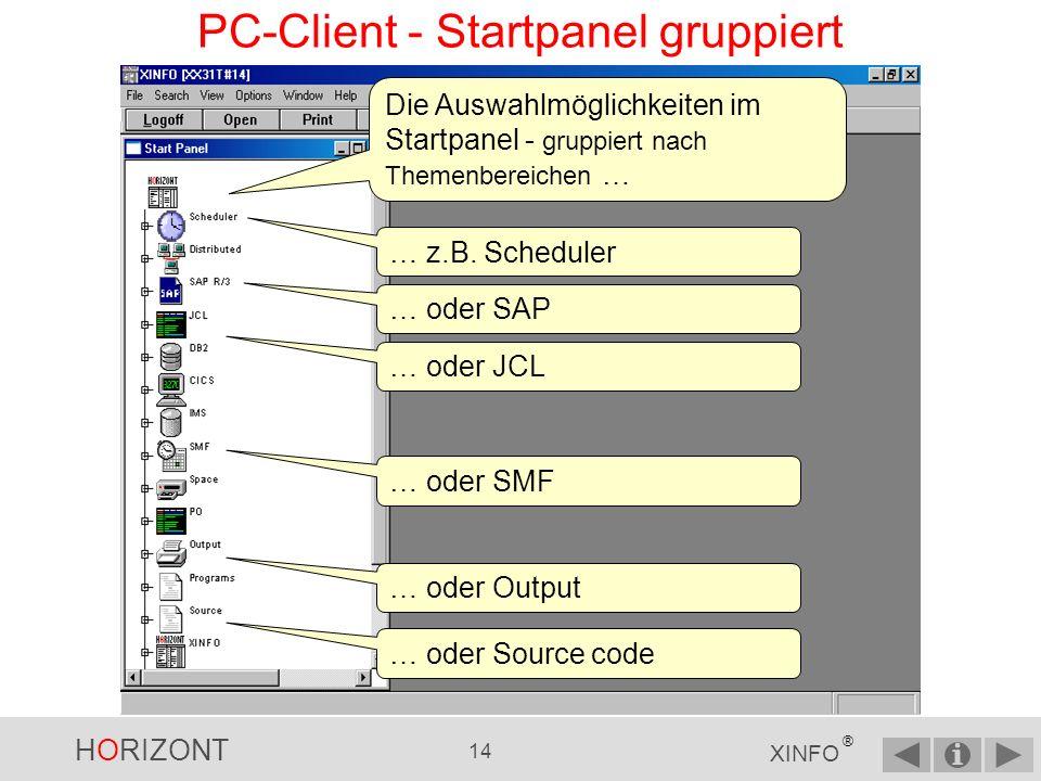 HORIZONT 13 XINFO ® PC-Client - Logon...und selektieren die entsprechende Konfiguration.