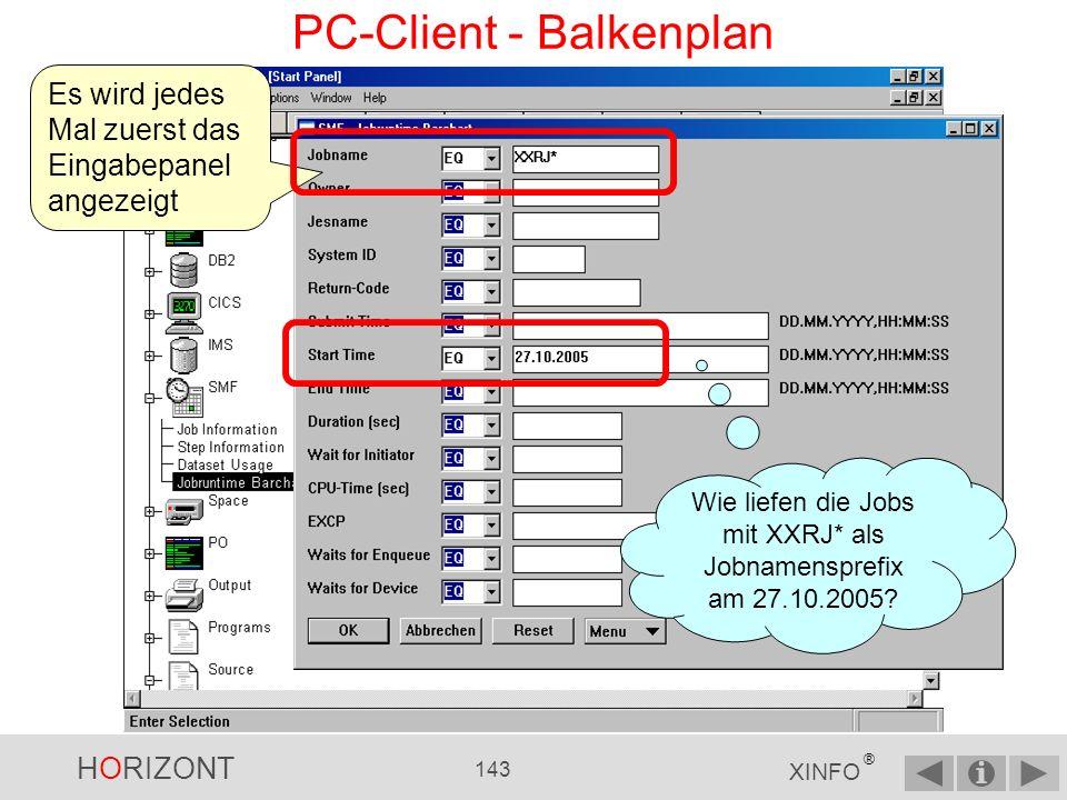 HORIZONT 142 XINFO ® PC-Client - Balkenplan über Menü Scheduler Oder: Zuerst auf das Pluszeichen bei SMF klicken …...