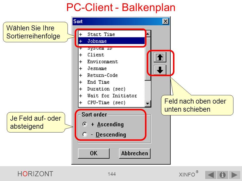 HORIZONT 143 XINFO ® PC-Client - Balkenplan Es wird jedes Mal zuerst das Eingabepanel angezeigt Wie liefen die Jobs mit XXRJ* als Jobnamensprefix am 27.10.2005?