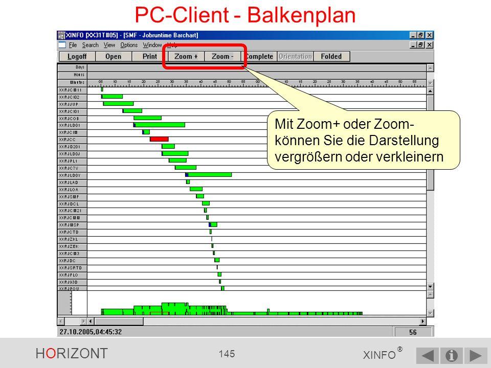 HORIZONT 144 XINFO ® PC-Client - Balkenplan Wählen Sie Ihre Sortierreihenfolge Je Feld auf- oder absteigend Feld nach oben oder unten schieben
