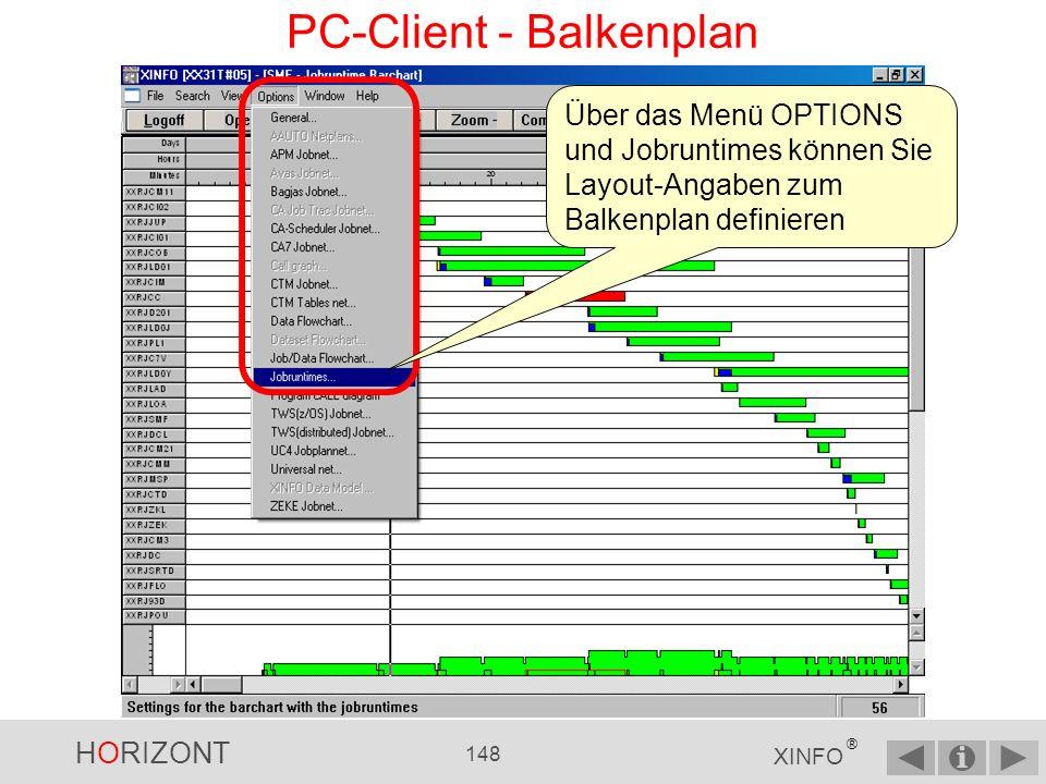 HORIZONT 147 XINFO ® PC-Client - Balkenplan Klick mit linker Maustaste zeigt alle Daten zu diesem Joblauf an Returncode, Start- und Endezeit Wait for Initiators Wait for Enqueue oder Device