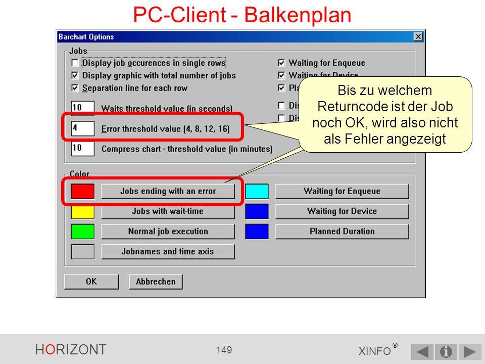 HORIZONT 148 XINFO ® PC-Client - Balkenplan Über das Menü OPTIONS und Jobruntimes können Sie Layout-Angaben zum Balkenplan definieren