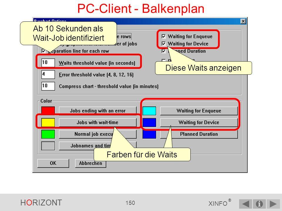 HORIZONT 149 XINFO ® PC-Client - Balkenplan Bis zu welchem Returncode ist der Job noch OK, wird also nicht als Fehler angezeigt