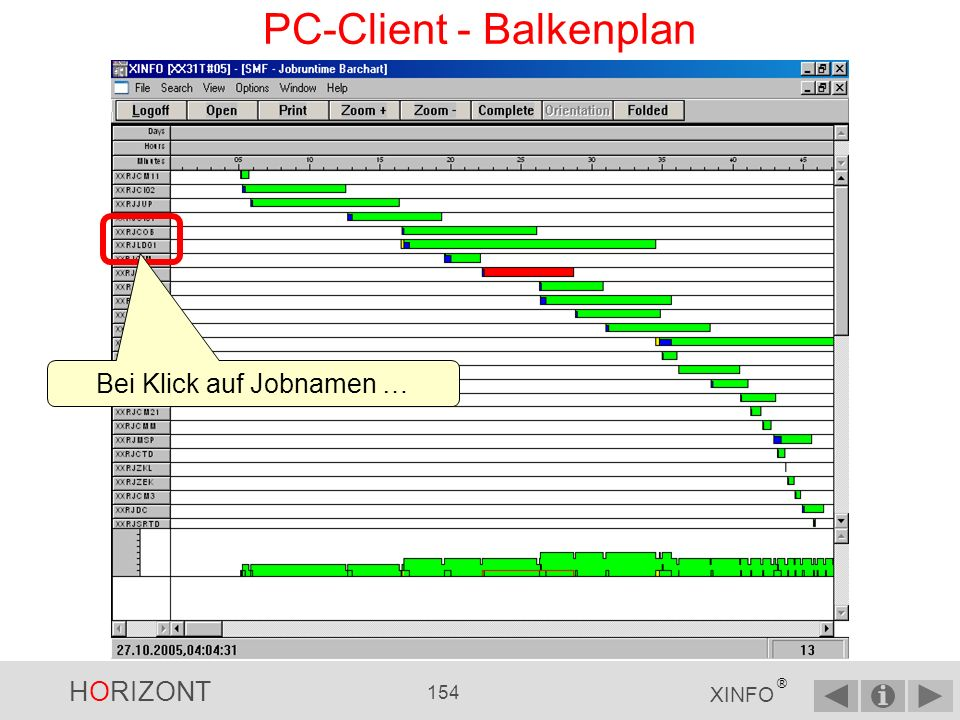 HORIZONT 153 XINFO ® PC-Client - Balkenplan Scrollbar horizontal Scrollbar vertikal