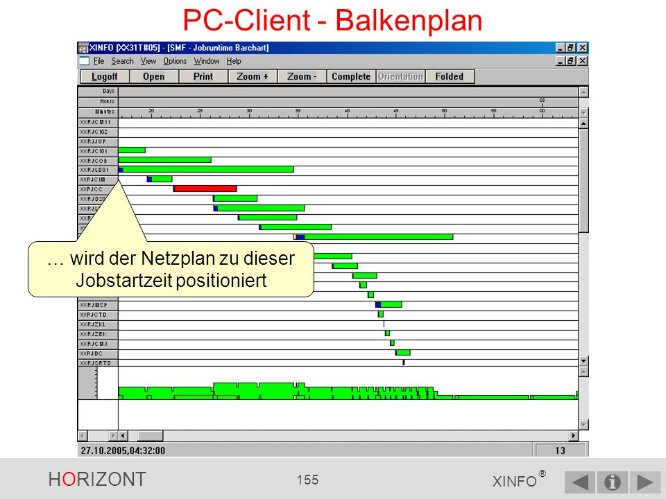 HORIZONT 154 XINFO ® PC-Client - Balkenplan Bei Klick auf Jobnamen …