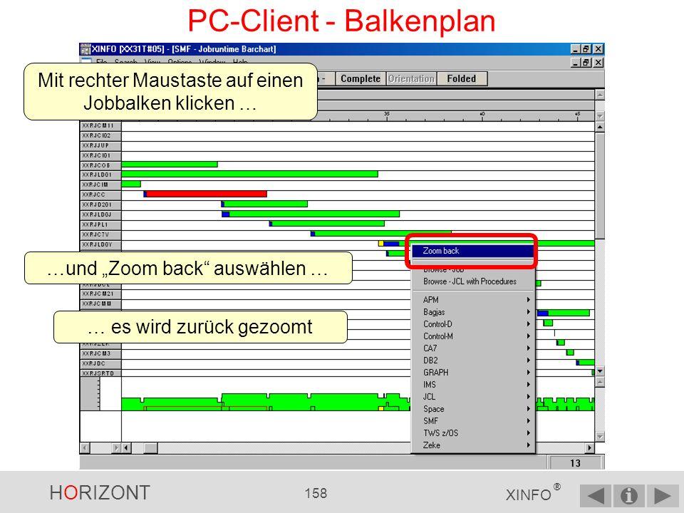 HORIZONT 157 XINFO ® PC-Client - Balkenplan … dieser Bereich wird gezoomt