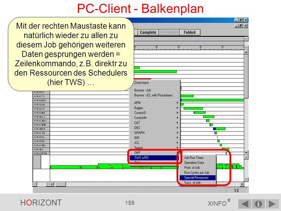 HORIZONT 158 XINFO ® PC-Client - Balkenplan Mit rechter Maustaste auf einen Jobbalken klicken … … es wird zurück gezoomt …und Zoom back auswählen …