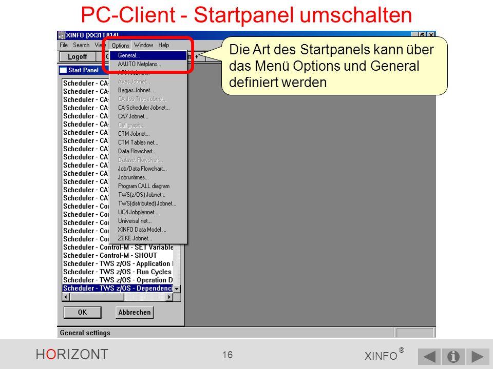 HORIZONT 15 XINFO ® PC-Client - Startpanel ungruppiert Die Auswahlmöglichkeiten im Startpanel - ungruppiert und sortiert nach Themenbereichen … … z.B.
