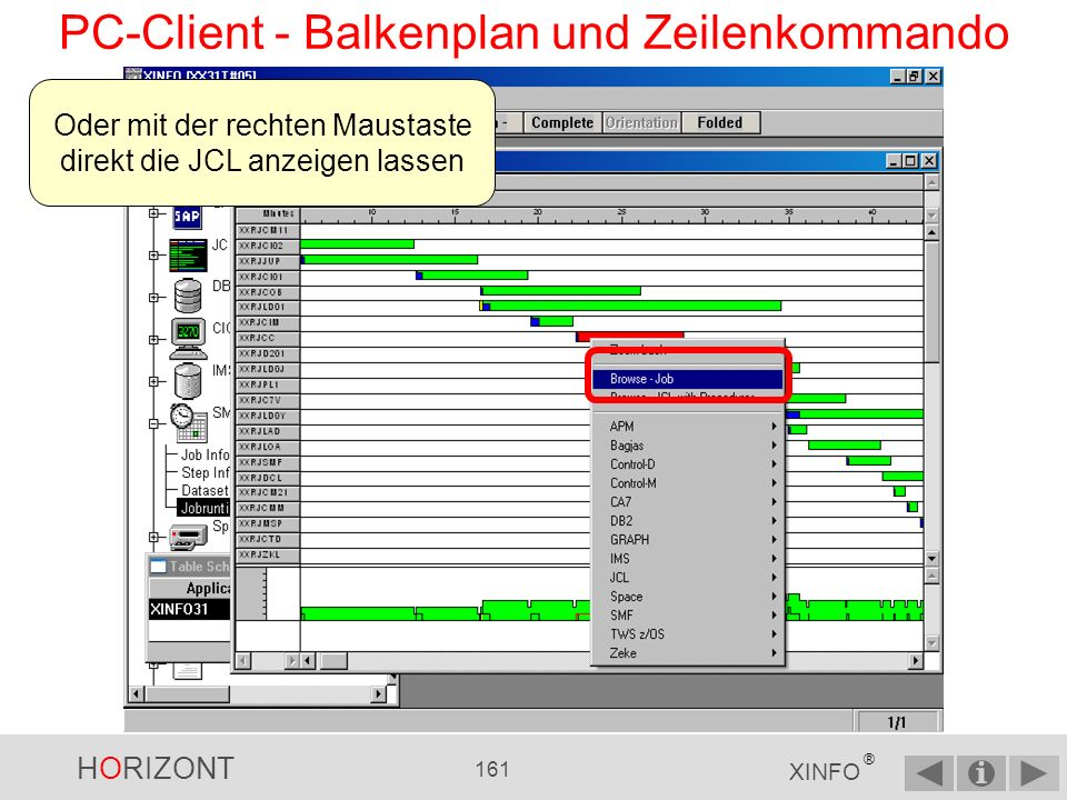 HORIZONT 160 XINFO ® PC-Client - Balkenplan und Zeilenkommando
