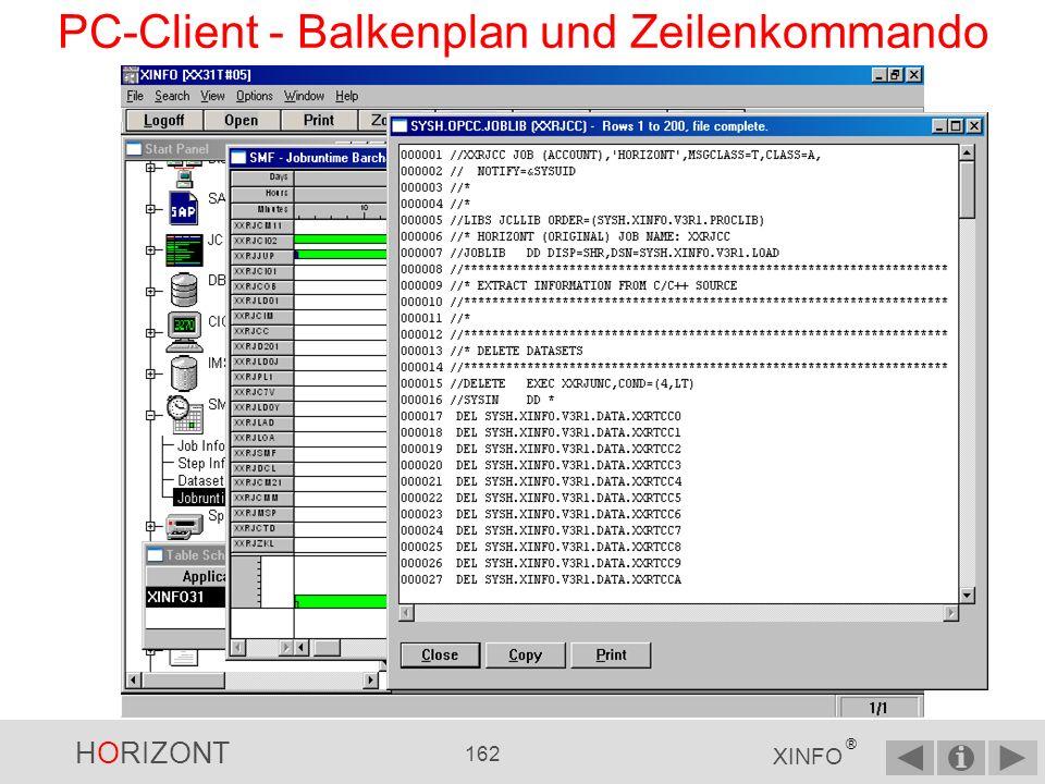 HORIZONT 161 XINFO ® PC-Client - Balkenplan und Zeilenkommando Oder mit der rechten Maustaste direkt die JCL anzeigen lassen
