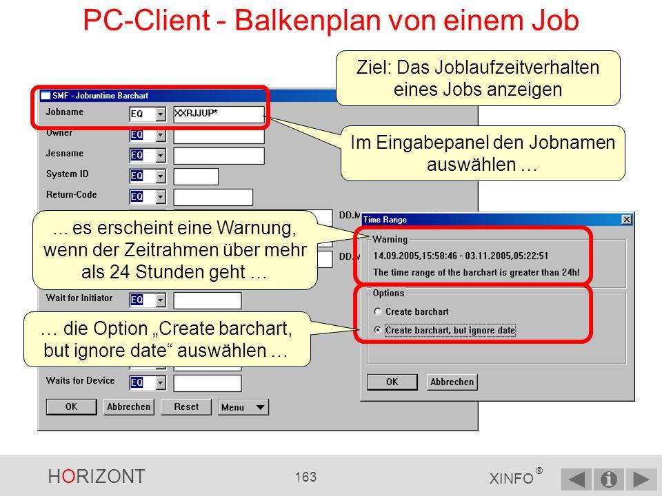 HORIZONT 162 XINFO ® PC-Client - Balkenplan und Zeilenkommando