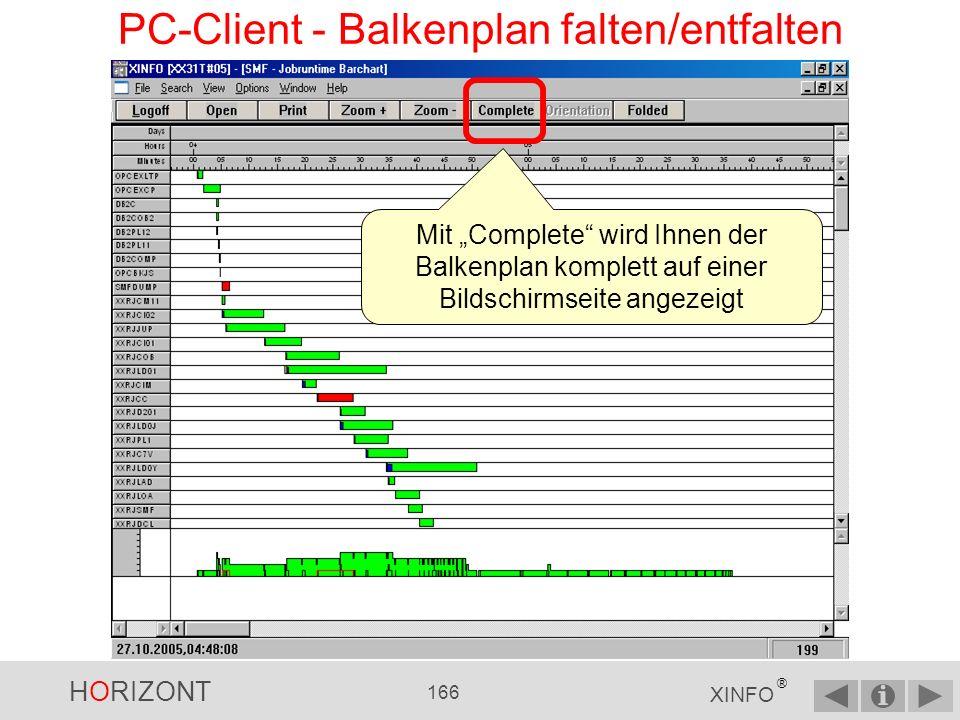 HORIZONT 165 XINFO ® PC-Client - Balkenplan von einem Job Wann war dieser Ausreißer-Job.