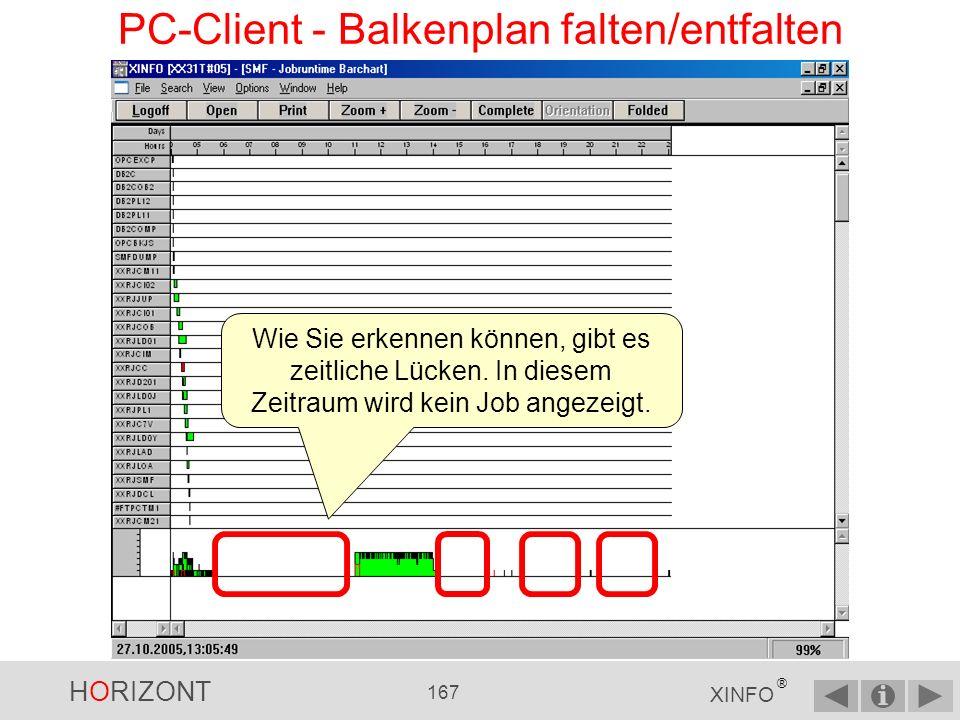 HORIZONT 166 XINFO ® PC-Client - Balkenplan falten/entfalten Mit Complete wird Ihnen der Balkenplan komplett auf einer Bildschirmseite angezeigt