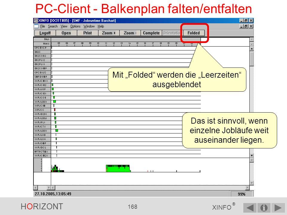 HORIZONT 167 XINFO ® PC-Client - Balkenplan falten/entfalten Wie Sie erkennen können, gibt es zeitliche Lücken.