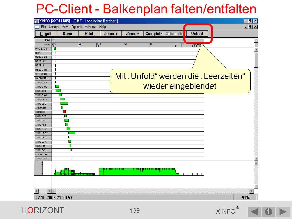 HORIZONT 168 XINFO ® PC-Client - Balkenplan falten/entfalten Mit Folded werden die Leerzeiten ausgeblendet Das ist sinnvoll, wenn einzelne Jobläufe weit auseinander liegen.
