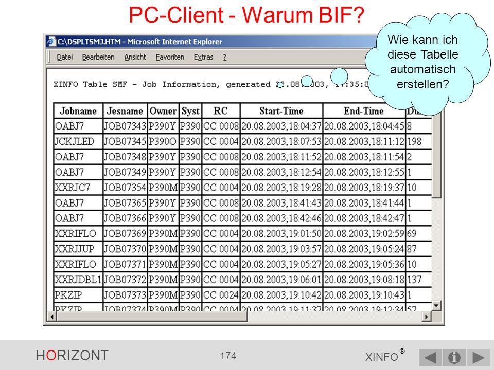 HORIZONT 173 XINFO ® PC-Client - Batch Interface (BIF) Das BIF Interface ermöglicht die automatische Erstellung von Dateien, um z.B.