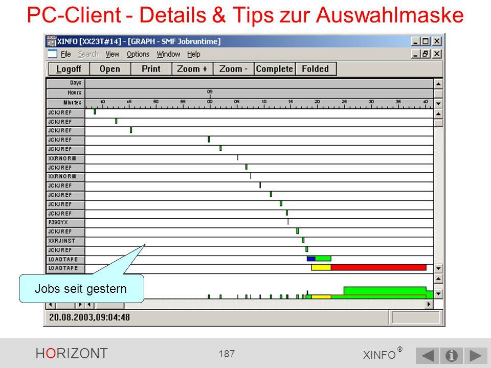 HORIZONT 186 XINFO ® PC-Client - Details & Tips zur Auswahlmaske Execute