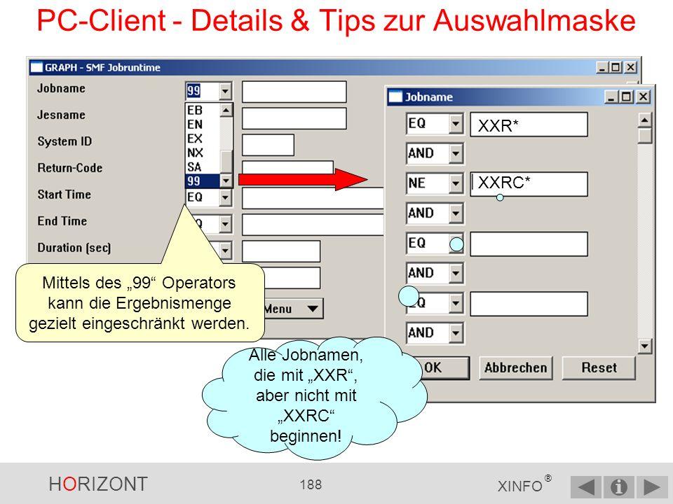HORIZONT 187 XINFO ® PC-Client - Details & Tips zur Auswahlmaske Jobs seit gestern