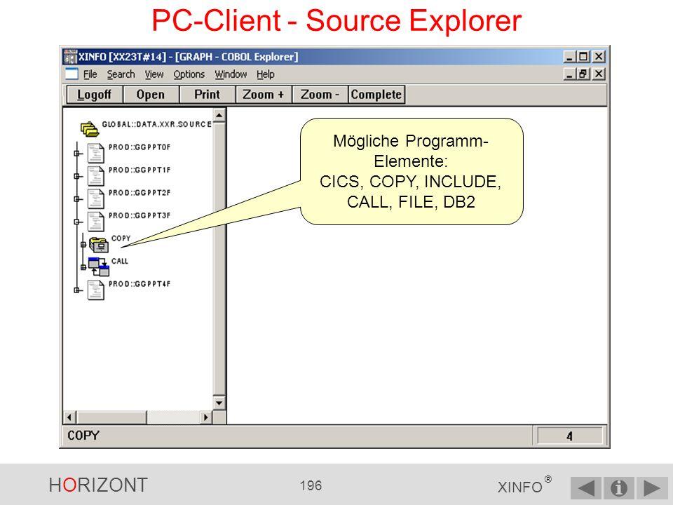 HORIZONT 195 XINFO ® PC-Client - Source Explorer linker Mausklick auf das Pluszeichen