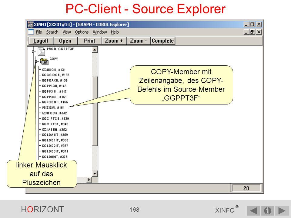 HORIZONT 197 XINFO ® PC-Client - Source Explorer Source Bibliothek Hauptprogramm COPY / Includes DB2 Zugriffe Datei Zugriffe Prozeduren Externe Programme Welche Jobs verwenden das Programm
