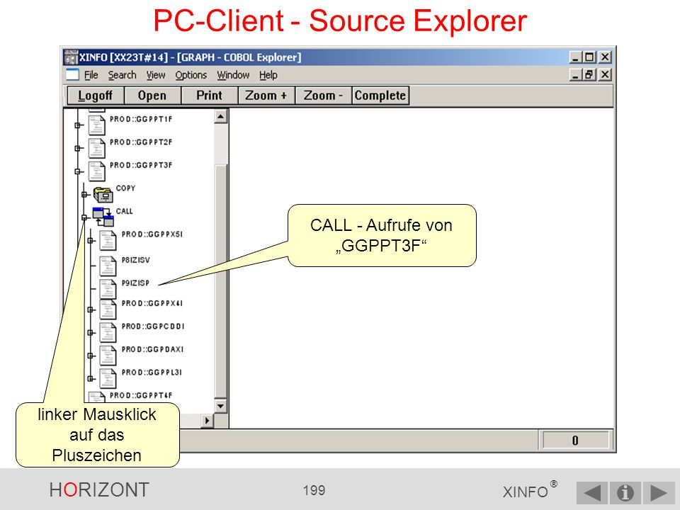 HORIZONT 198 XINFO ® PC-Client - Source Explorer linker Mausklick auf das Pluszeichen COPY-Member mit Zeilenangabe, des COPY- Befehls im Source-Member GGPPT3F