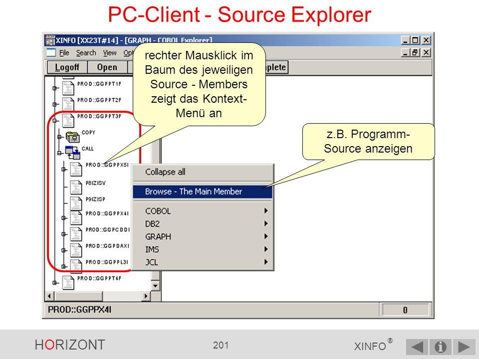 HORIZONT 200 XINFO ® PC-Client - Source Explorer linker Mausklick auf das CALL - Icon erstellt das CALL Diagramm