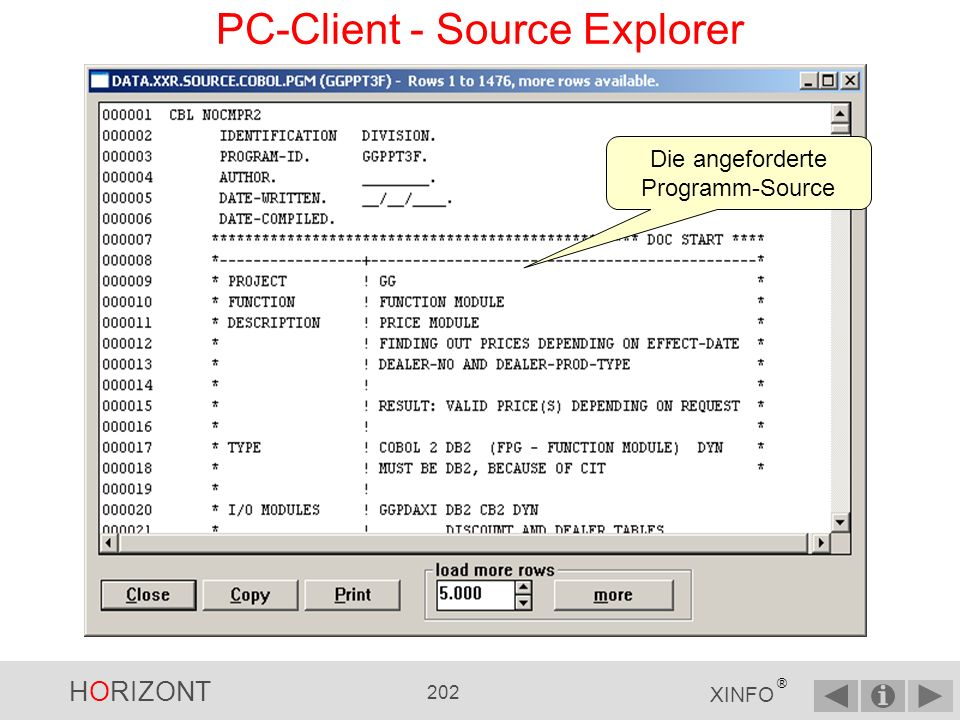 HORIZONT 201 XINFO ® PC-Client - Source Explorer rechter Mausklick im Baum des jeweiligen Source - Members zeigt das Kontext- Menü an z.B.