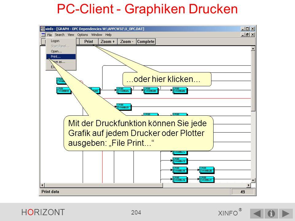 HORIZONT 203 XINFO ® PC-Client - Druckfunktion Alle Grafiken können auf Druckern oder Plottern mit einer einheitlichen Druckfunktion ausgegeben werden.