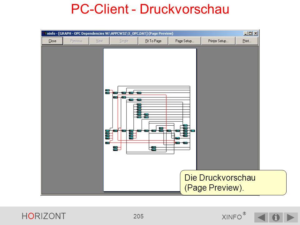 HORIZONT 204 XINFO ® PC-Client - Graphiken Drucken Mit der Druckfunktion können Sie jede Grafik auf jedem Drucker oder Plotter ausgeben: File Print......oder hier klicken...